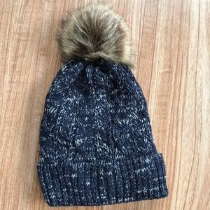 Accessories - Navy Blue Pom Beanie